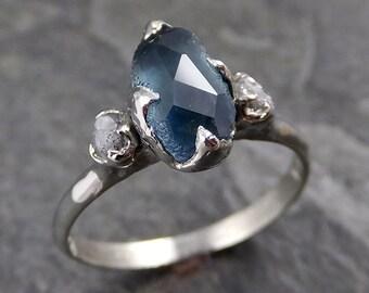 Partially faceted Montana Sapphire Diamond 18k White Gold Engagement Ring Wedding Ring Custom blue-green Gemstone Ring Multi stone Ring 1171
