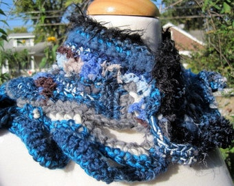 blue free from crocheted scarflette neckwarmer