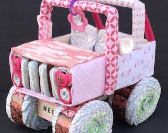 Baby girl camo, owl baby shower, owl baby, pink camo baby shower, jeep diaper cake, pink camo diaper cake, unique baby gift, pink camo baby