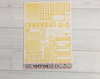 Yellow Functional Sampler - Weekly Kit  - Functional Stickers - Erin Condren Planner Stickers