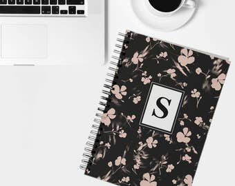 Personalised notebook, floral notebook, notepad, journal, customised notebook, writing pad, gift for her, stationary, book, personalized