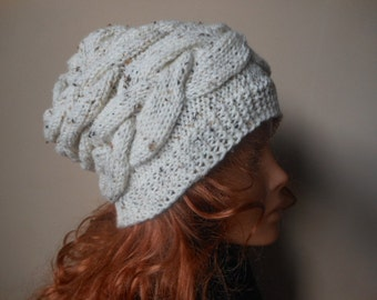 Cable Knit Hat Hand Knit Slouchy Beanie Hat Acrylic Oatmeal Cream