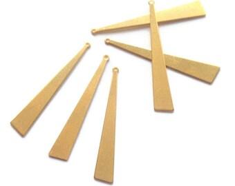 x 6 long 44mm raw brass triangle pendant