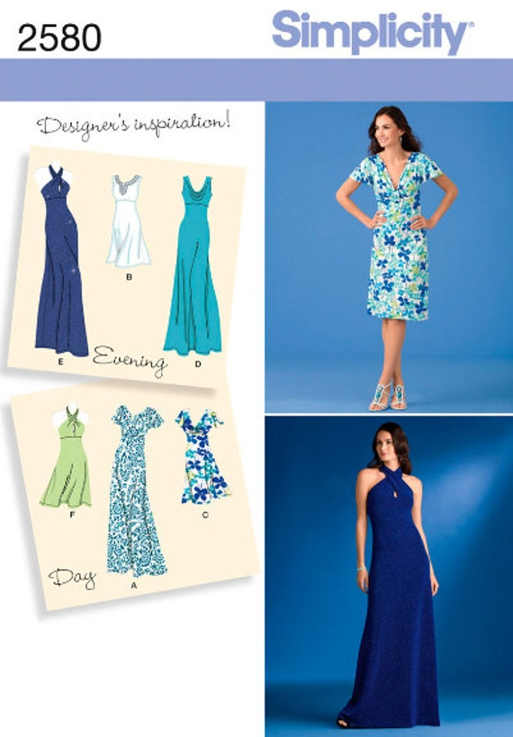Simplicity sewing pattern 2580 Knit Dress, Dresses, 2 Lengths with ...