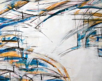 Study 8-17-11 (abstract expressionist painting, blue, gold, white)