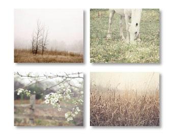 Rustic Country Landscape Prints, Country Decor, Farmhouse Decor, Rustic Home Decor, Set of 4 Rustic Prints, Horse, Rustic Farmhouse Prints