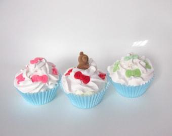 3 dummy fake  cupcakes bows teddy bear. Photo prop Kitchen decor. Cake Shop display