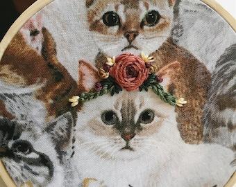 Flower Crown Cat Embroidery Hoop Art