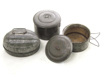 Miners Stacked Lunch Pail & Acorn Pudding Mold Collection~Vintage Metal Primitives  / 0320