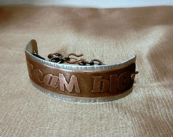 DREAM BIG..... Mixed Metal Bracelet Cuff with Chain