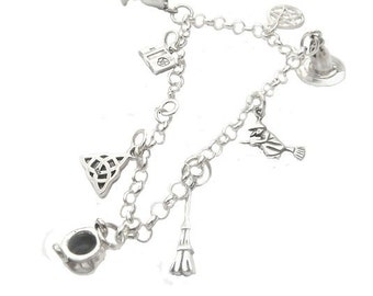 Sterling Silver Pagan Charm Bracelet
