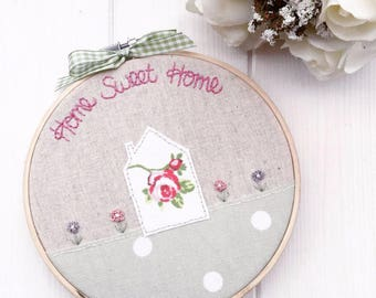 Embroidery Hoop // Home Sweet Home // New home Gift