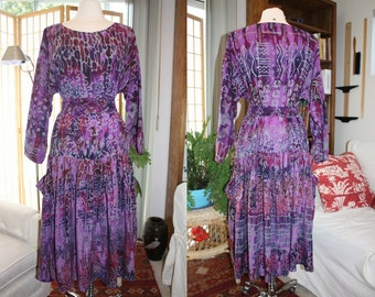 1990s Purple Batik Dress Small Medium Vintage REtro 90s Dropwaist Indonesian Polynesian Boho Hippie