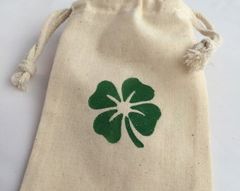 St Patricks Treat Bag/ Favor Bag/ Gift Bag Irish Four Leaf Clover Drawstring Bag,  St Patricks Day Favor Bags, Shamrock Gift Bag, Irish Gift