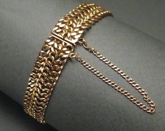 10K Wide Link Bracelet with ring #129