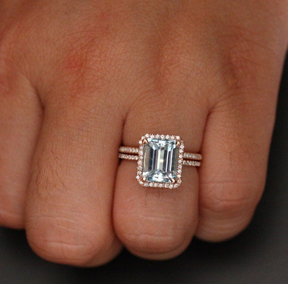 rose gold aquamarine engagement ring and diamond wedding band. Black Bedroom Furniture Sets. Home Design Ideas