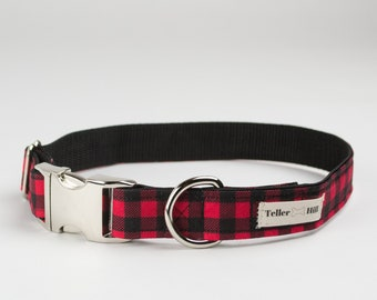 Red Buffalo Plaid Dog Collar - Red Plaid Dog Collar - Boy dog collar - Red Check dog collar - Dog Collar plaid - Christmas Dog Collar