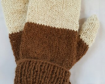 Alpaca Hand Knit Two Toned Mittens