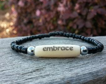 Inspiration Bracelets, Embrace, Black Glass Stack Bracelet, Yoga Bracelet, Yoga Stack, Healing Bracelet