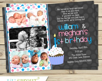 Girls 12 photo birthday invitation 1st year collage boy girl twin 1st birthday invitation blue pink double birthday invitation one year old first birthday invitation for twins or siblings filmwisefo