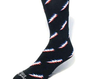Grateful Dead Lightning Bolt Crew Sock- Black