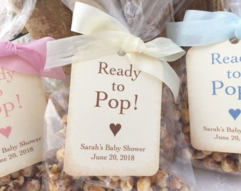 Baby Popcorn Favor Bags, Baby Shower Popcorn Favor Bags, Ready to Pop Bags and Tags, Set of 10
