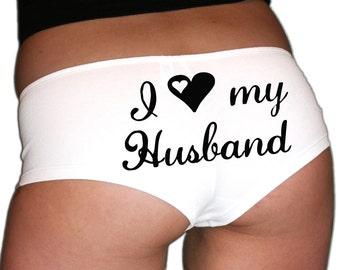 Bachelorette Gift. Honeymoon Lingerie. Husband Gift. Bride Panties. Bachelorette Party. I Love My Husband Panties.