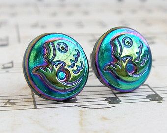 Catch and Release - vintage glass button stud earrings