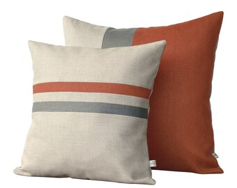 Color Block & Stripe Pillow Set - Sienna and Grey Striped Pillow (16x16) - Sienna and Grey Colorblock Pillow (20x20) by JillianReneDecor