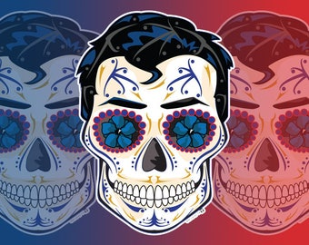 Superman Sugar Skull 3x4 Vinyl Sticker
