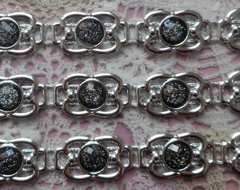 Tape adhesive black cabochons glitter silver acrylic 3.00 cm in length each