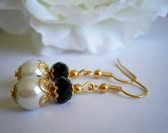 Black and White Earrings - Bridesmaid Gift - Gift For Her - Long Dangle Earing - Gothic Weddings - Glass Pearl Jewelry - Wedding Jewelry