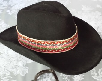 Handwoven Hatband Peruvian Textile! Red Blue Pink Green White