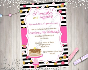 Pancakes and Pajama Party Birthday Invitation Invite Pajama Party Pancake Party Confetti Sprinkles Pancakes and Pajamas Party Printable