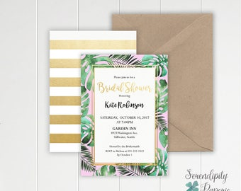Pink and tropical bridal shower invitation - Palm tree Bridal shower - Modern Bridal shower - Pink and palm leaf invitation -
