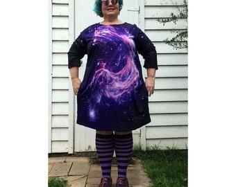 Galaxy Swirl 3/4 sleeve minidress tunic now available