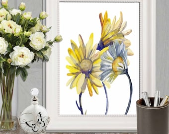 Daisy print Daisies printable Yellow and blue home decor Large print Bedroom wall art Floral watercolor art Yellow flower Canvas DOWNLOAD