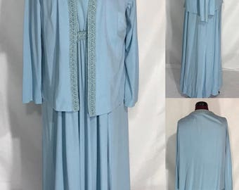 1970's-80's | Long Blue Dress with Jacket