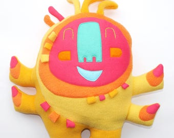 JUMBO Happy Sprite Plush, creature, stuffie, huggable, lovie, plushie, cute, big, yellow, stuffed animal