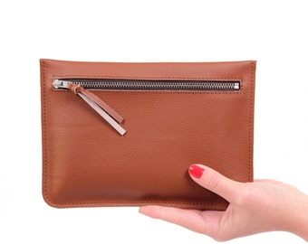 "Flat clutch ""Feli"" brown//Genuine Leather"