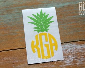 Pineapple Decal - Monogram Decal - Pineapple - Monogram Decal - Pineapple Sticker - Yeti Decal - RTIC Cup Decal - Car Decal - Laptop Decal