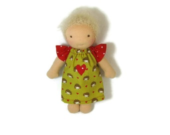 7 inch, 8 inch Waldorf Doll Dress, hedgehog print and red polka dots doll dress, doll clothing, tiny doll dress, optional bloomers