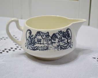 Vintage Creamer Village Cottage Design Blue and White China Coffee Tea Accessory Unmarked PanchosPorch