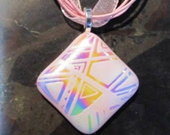 Fused Glass Pendant with Ribbon necklace: Etched Funky Pink