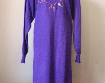 "Jeweled Purple Dress / Vtg 90s / "" Darian "" Sweater Dress with large jewels / Size L Purple Sweater Dress"