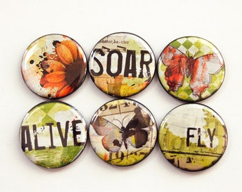Soar Alive Fly Magnets, Magnets, button magnets, Kitchen Magnets, Locker Magnets, Sunflower, Orange, Green, stocking stuffer (3380)
