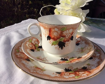 English Bone Imari china tea cup and saucer, Imari tea trio, tea cup saucer and plate,  for the perfect tea party plate