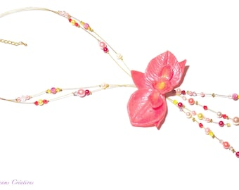 Pink mother-of-pearl orchid necklace, for wedding, ceremony, evening.
