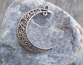 8 Silver Moon Pendants 38mm Crescent Moon with 2 Loops Filigree