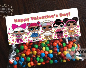 LOL Surprise Dolls Valentine Treat Bag Topper